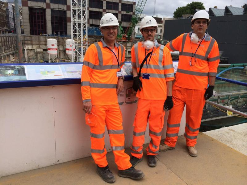 Gerald, Christian and Thomas - taking a final view from above after a visit to the Farringdon station tunnels: